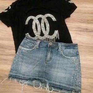 goodtime Skirts - Rhinestone jean skirt